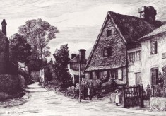 drawing of All Saints and Post Office