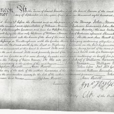 Manor record of purchase of the property by John Norman (land adjacent owned by John Nathaniel Atkins and Samuel Kille