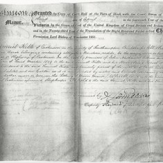 1851 record of purchase by Samuel Kille, builder, on surrender by William Earwaker, shopkeeper