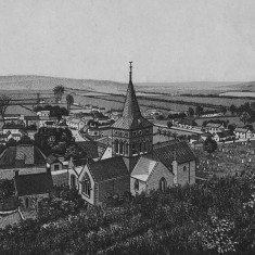 Engraving of All Saints Church and village, made c 1880 since it shows the new roof and closes which were part of the refurbishment by Ewart Christian,  commissioned by Rev William Brodie, vicar 1969 - 1882.