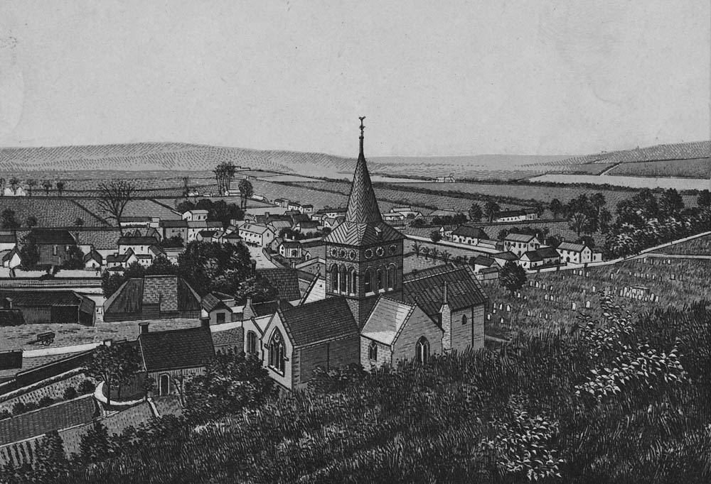19th century engraving of All Saints Church and village