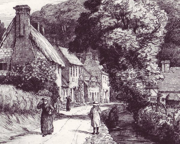 Built c1600, the first house on the left was originally the Angel, an ale house.