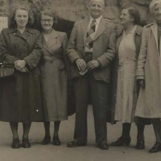 Archie & Mrs Hobbs with Jean and Hilda Hoare and Mrs Darby