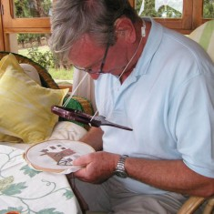 Charles Clayson at work in Mallorca