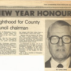 Knighthood for Lynton White, County Chairman.