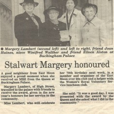 Margery Lambert honoured with MBE. Group included Joan Haines.