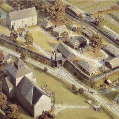 In 1986, a model of East Meon in Norman times was created to commemorate the 900th anniversary of The Domesday Book. This shows the location of The Court House and All Saints Church. Not based on architectural evidence.
