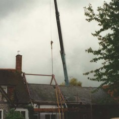 A giant crane was used to lift the framework and lower it into position.