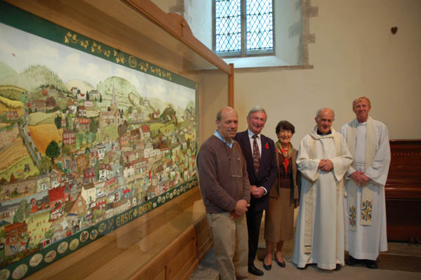 At the dedication, from right, Steve Lamont, Charles Clayson, Cathy Clayson, Reverend Terry Louden and the Archdeacon of the Meon, Rt Rev Peter Hancock.