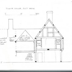 Elevation from south with notes
