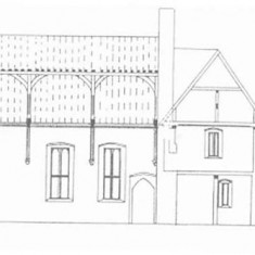 Edward Roberts elevation of the west side of The Hall.  | Edward Roberts