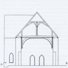 Edward Roberts elevation of south side of The Hall.