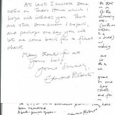 Edward Roberts note to Tricia Blakstad 1992