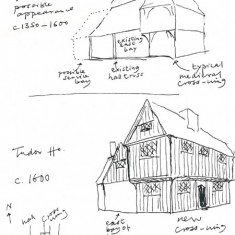 Edward Roberts sketches of The Tudor House, 1330 - 1600 and 1600