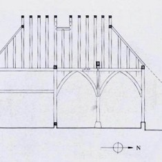 Sketch of the long section of the cottage.