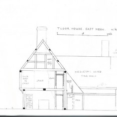 Elevation from north with notes