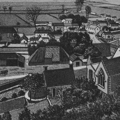 Detail of a Victorian engraving, showing the north side of Glenthorne House (on the left), not in those days painted white.