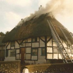 Fire at White Cottage (Denys Ryder collection)