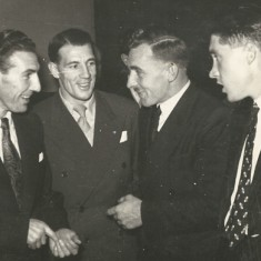 Two Portsmouth FC players, with Ron Watts, John Berry
