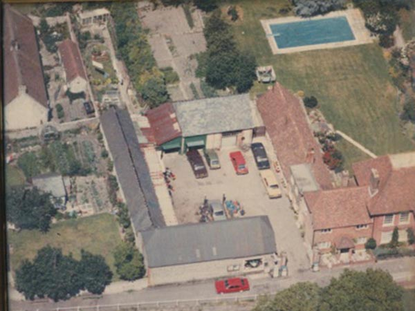 Aerial photograph of the courtyard of Glenthorne House when it was used as a garage.