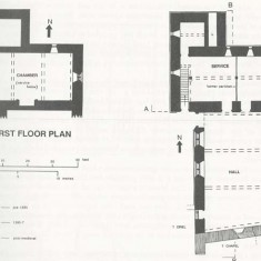 Ground floor plan, showing positions of the bishop's chapel and the oriel leading from the hall to his private suite. At the north end is the garedrobe block with latrine chute (L). The first floor plan shows the great chamber (or solar) and the garderobe block.