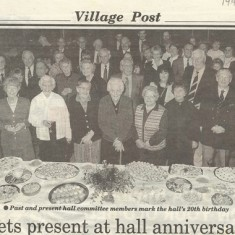 1995 anniversary party for Village Hall. Included in the front row, Lettice Ross, Freddie Standfield, Wilson Atkinson