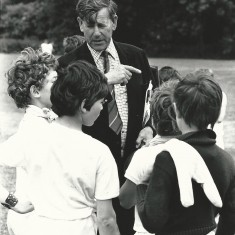 Second Headmaster Sherrard Manning with boys on sports day.