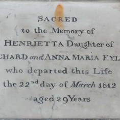 Plaque dedicated to Richard Eyles Snr's daughter Henrietta who died in 1812 aged 29.