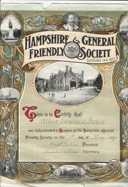 Hampshire & General Friendly Society certificate of membership