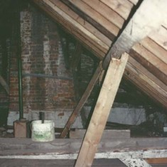 Support beams inside the roof.