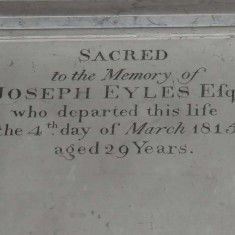 Plaque dedicated to Joseph Eyles II, who died in 1815.