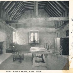 A postcard sent in 1936. It shows the Great Chamber, or Solar, as it then was. It has been known as 'King John's room', since he stayed in the former house.