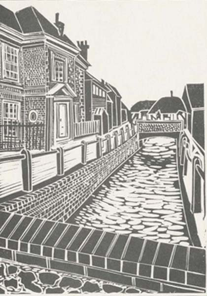 Lino cut of River Meon and Glenthorne House