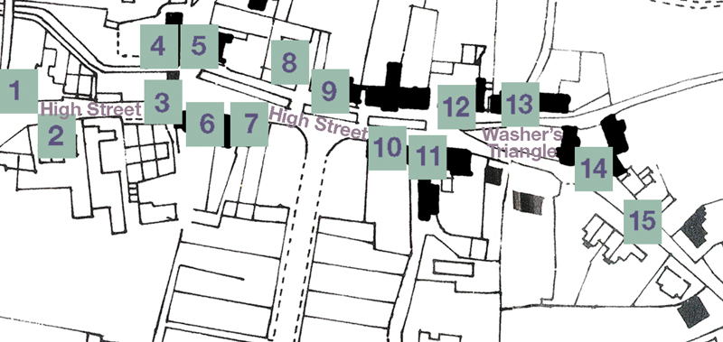 Map showing location of Shops and Trades in East Meon High Street in the early 20th century
