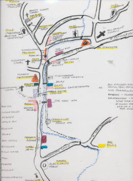 Margery Lambert's map of East Meon's shops and trades in the 1920s. The map is not topographically correct ....