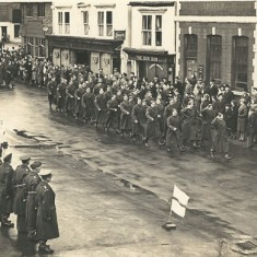 Military parade in Petersfield. East Meon Home Guard, Jack Chitty with stick, back row, Phil Berry, RH back corner