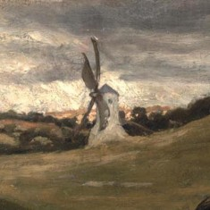 There are two buildings in the painting. The windmill on the hill was almost certainly Marland's Mill which sits on a hill a mile north of the village and which couldn't be seen from Westbury House.