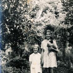 Olivia and Margaret in  garden