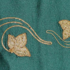 Some undertook ambitious styles of needlework, including Shirley Whiting who used classic embroidery for the border and Cathy herself who did the gold work in the top panel (above) and the corners. Some trees were executed using water-soluble plastic on a sewing machine