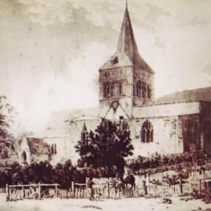 Print of All Saints, unknown date or artist, Note roof line and sizeable house in grounds