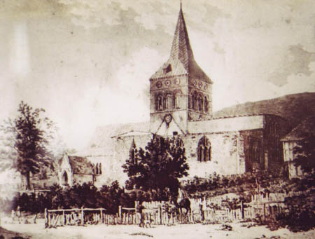 Print of All Saints, unknown date or artist, Note roof line and sizeable cottage in grounds