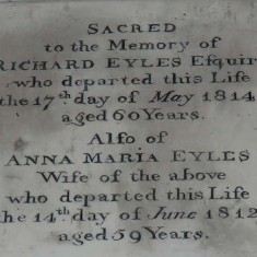 Plaque dedicated to Richard Eyles II, who died in 1814, and his wife Anna Maria.