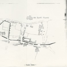 Plan showing site. n.b. 'Proposed diversion of River'
