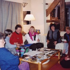 A group of village women assembled in 2000 to start work. A core team above, left to right: Maggie Marks, Joan Rockett, Tiggy Greenwood, Sue Barrett, Jane Sims, Shirley Whiting and Cathy Clayson) met to plan the project and drew the layout on a large sheet of paper.