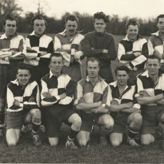 Soccer team unknown date. L to R, back row, Archie Searle, Pat Fielder, John Berry, Reg Hobbs, Dick Berry, Bob Coles. Front row Fred Hartley, Terry Fielder, Les Emery, John Tosdevine, Ted Richards