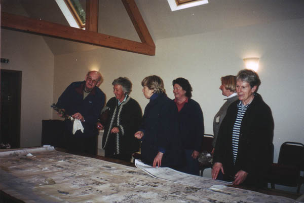 Team at table in Church Room - Denys Ryder, Sue Croft, nk, Judith Perkins, Sue Barrett, Tricia Blakstad