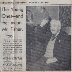 Clipping from Daily Hampshire Telegraph, January 1964. It shows Bob Fisher, aged 97, winning the musical chairs competition at the Village Institute.