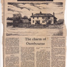 Article on Oxenbourne Farm, describing its history including Lord Peel and Dymott White as landlords, John, Jean and Jonathan Berry as tenants.