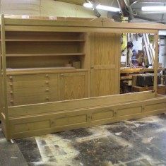 The display unit is erected in front of the vestry unit in Steve's workshop.