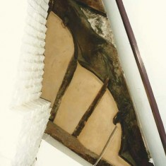 Truss beam and plaster after restoration